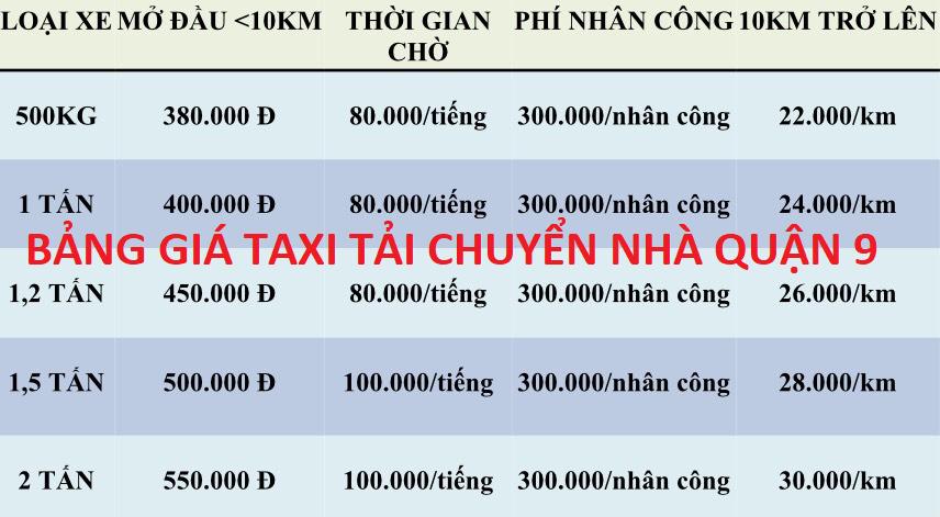 Taxi tải chuyển nhà quận 9